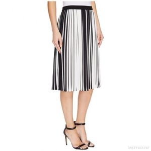 Vince Camuto Striped Pleated Skirt
